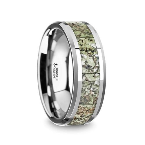 Dacina Men's Tungsten Wedding Band with Genuine Light Green Dinosaur Bone Inlay at Rotunda Jewelers