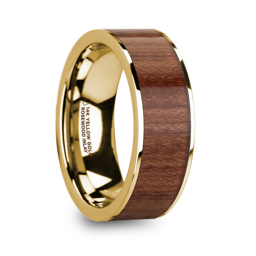 Calendula Polished 14k Yellow Gold Men's Flat Wedding Band with Rosewood Inlay at Rotunda Jewelers