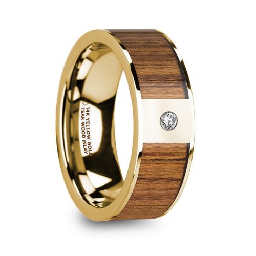 Echinacea Polished 14k Yellow Gold Men's Wedding Band with Teak Wood Inlay & Diamond at Rotunda Jewelers