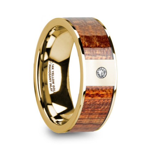 Bryony 14k Yellow Gold Men's Wedding Band with Mahogany Wood Inlay & Diamond at Rotunda Jewelers