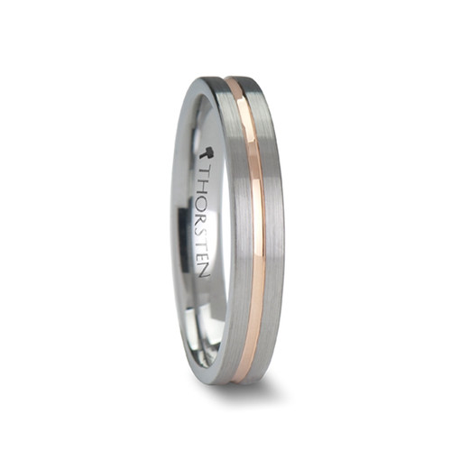 Fig Pipe Cut Brushed Finish Tungsten Carbide Band with Rose Gold Channel at Rotunda Jewelers