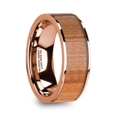 Statice Polished 14k Rose Gold Men's Flat Wedding Band with Cherry Wood Inlay at Rotunda Jewelers