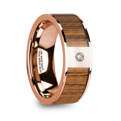 Bistort 14k Rose Gold Men's Polished Wedding Band with Teak Wood Inlay & Diamond at Rotunda Jewelers