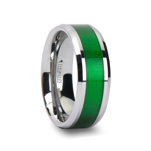 Astrantia Tungsten Carbide Band with Textured Green Inlay at Rotunda Jewelers