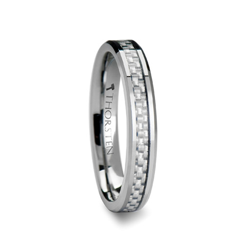 Pacific Tungsten Carbide Band with White Carbon Fiber Inlay at Rotunda Jewelers