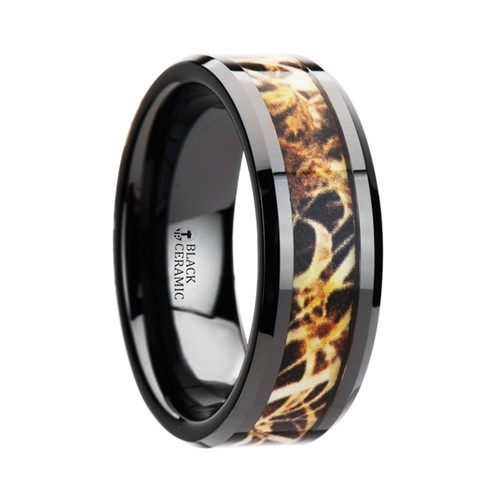 Cinnamon Black Ceramic Wedding Band with Leaves Grassland Camouflage Inlay at Rotunda Jewelers