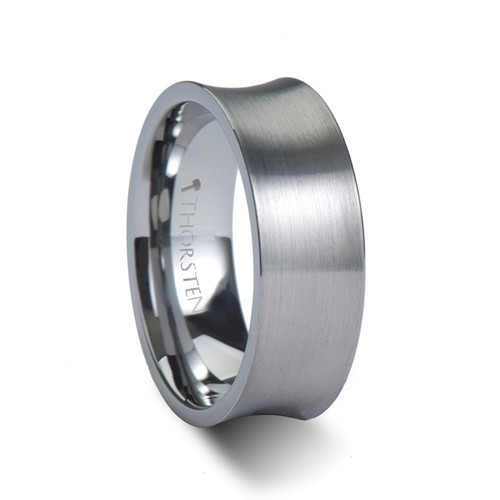 Early Concave Tungsten Carbide Band with Brushed Finish at Rotunda Jewelers
