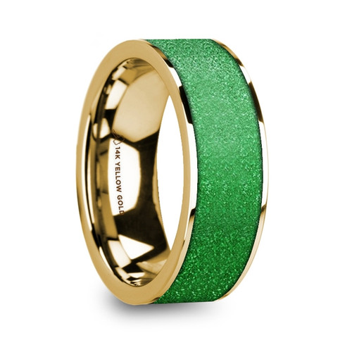 Needle 14k Yellow Gold Men's Flat Wedding Band with Textured Green Inlay at Rotunda Jewelers