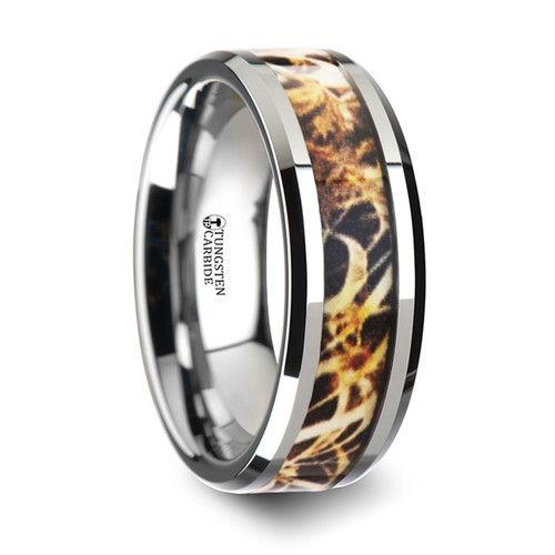Ferns Tungsten Carbide Wedding Band with Grassland Leaves Camouflage Inlay at Rotunda Jewelers