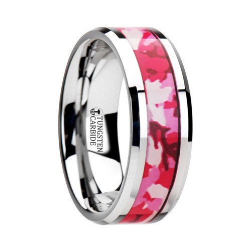 Whorled Tungsten Wedding Band with Pink & White Camouflage Inlay at Rotunda Jewelers