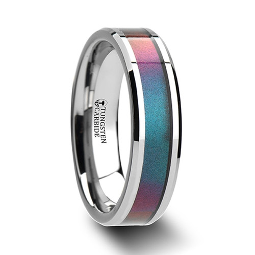 Grapevine Tungsten Carbide Band with Blue & Purple Color Changing Inlay at Rotunda Jewelers