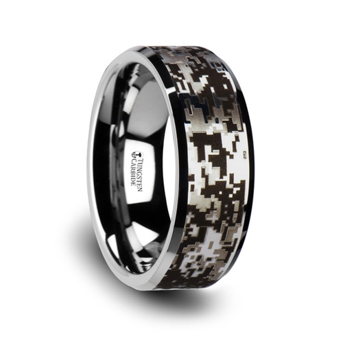 Tussock Tungsten Carbide Wedding Band with Engraved Digital Camouflage at Rotunda Jewelers