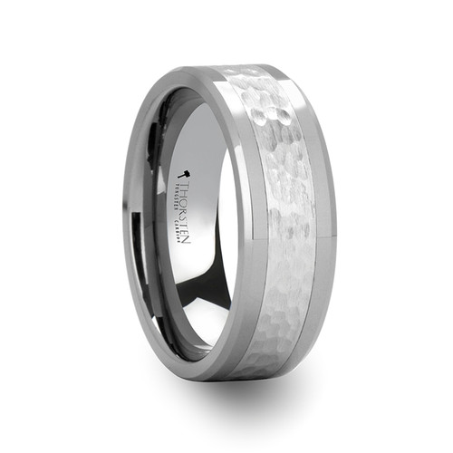 Everlasting Hammered Finished Center Tungsten Carbide Wedding Band at Rotunda Jewelers