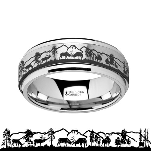Vauquelinia Spinning Engraved Deer and Mountain Range Tungsten Carbide Band at Rotunda Jewelers