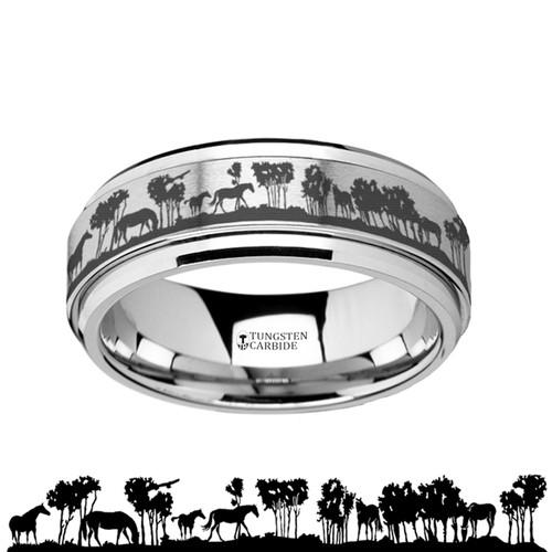 Silverleaf Spinning Wild Horse Scene Engraved Tungsten Carbide Band at Rotunda Jewelers