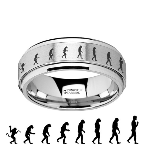 Speedwell Spinning Human Evolution Engraved Tungsten Carbide Band at Rotunda Jewelers