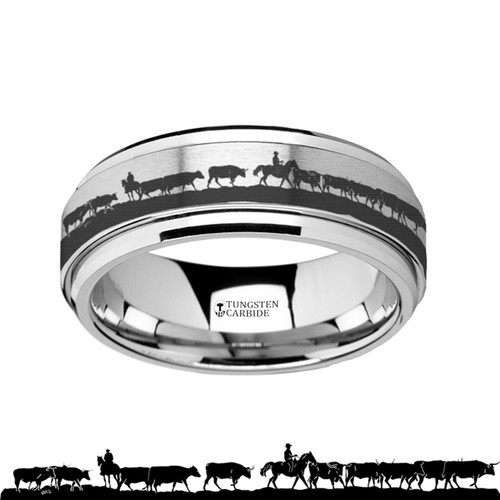 Cucumber Spinning Herding Cattle Engraved Tungsten Carbide Band at Rotunda Jewelers