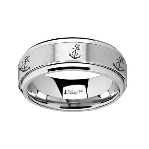 Nemenepsa Spinning Artistic Anchor Engraved Tungsten Carbide Band at Rotunda Jewelers