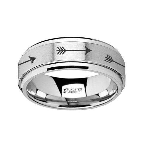Sessile Spinning Arrow Engraved Tungsten Carbide Band at Rotunda Jewelers