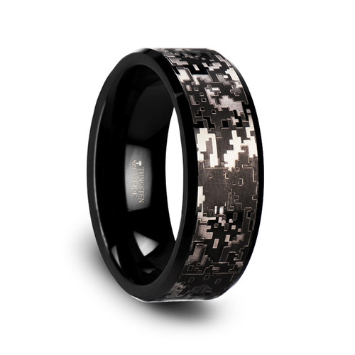 Northern Black Tungsten Carbide Wedding Band with Engraved Digital Camouflage at Rotunda Jewelers