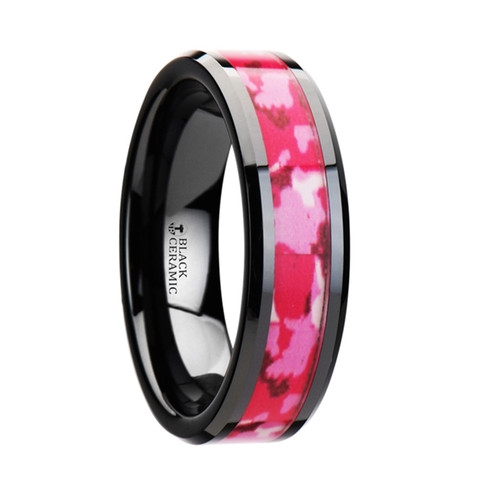 Bryonia Black Ceramic Band with Pink and White Camouflage Inlay at Rotunda Jewelers