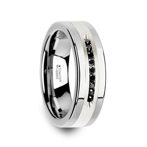 Bay Flat Tungsten Wedding Band with Brushed Silver Inlay and 9 Black Diamonds at Rotunda Jewelers