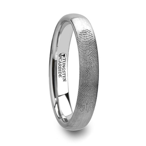 Wineberry Custom Fingerprint Engraved Domed Tungsten Wedding Band at Rotunda Jewelers