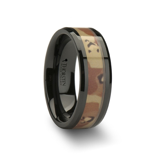 Papaver Black Ceramic Band with Real Military Style Desert Camouflage at Rotunda Jewelers