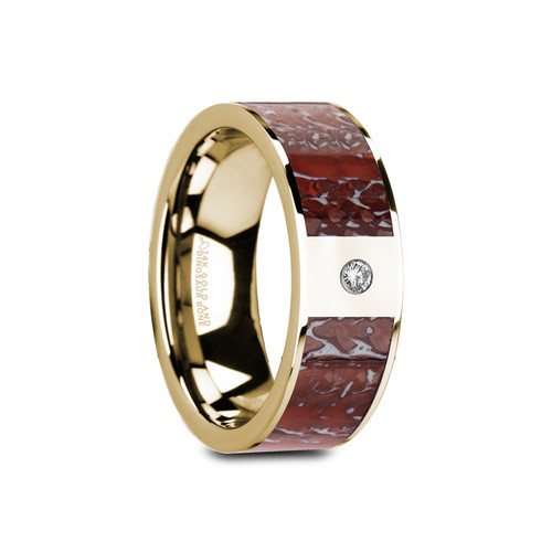 Celandine Flat Polished 14k Yellow Gold Band with Genuine Red Dinosaur Bone & White Diamond at Rotunda Jewelers
