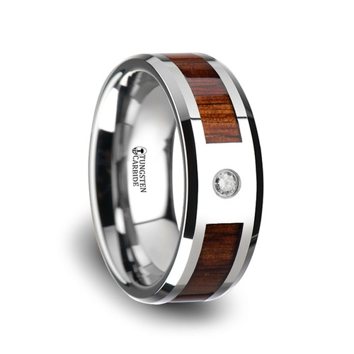 Catmint Tungsten Carbide Diamond Wedding Band with Koa Wood Inlay at Rotunda Jewelers