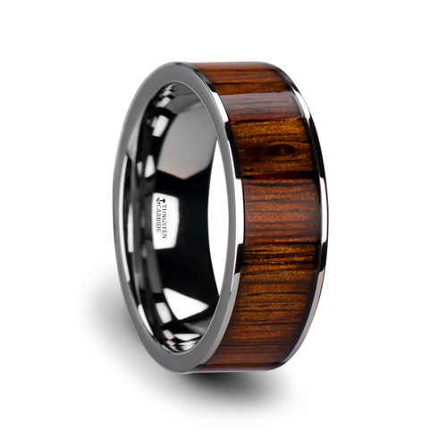 Lotus Flat Tungsten Carbide Wedding Band with Rare Koa Wood Inlay at Rotunda Jewelers