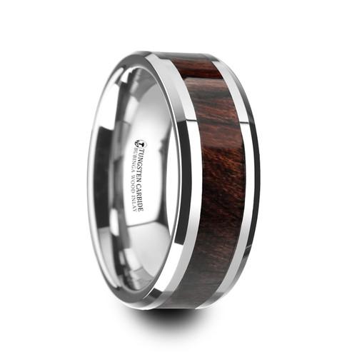 Hare Tungsten Carbide Band with Bubinga Wood Inlay at Rotunda Jewelers