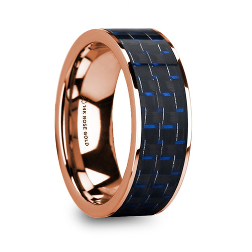 Dindle 14k Rose Gold Men's Flat Wedding Ring with Blue & Black Carbon Fiber Inlay at Rotunda Jewelers
