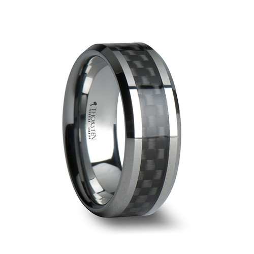 Centaurium Tungsten Carbide Wedding Band with Black Carbon Fiber Inlay at Rotunda Jewelers