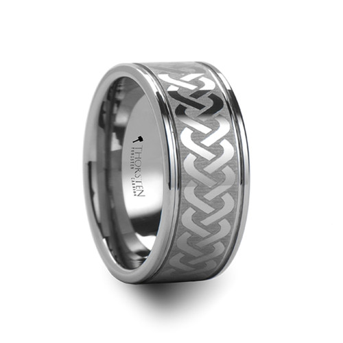Potamogeton Celtic Knot Laser Engraved Tungsten Carbide Band at Rotunda Jewelers