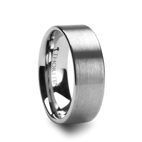 Adila Pipe Cut Brush Finish Tungsten Carbide Ring at Rotunda Jewelers