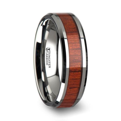 Fairymoss Tungsten Wood Band with Polished Bevels and Padauk Wood Inlay at Rotunda Jewelers