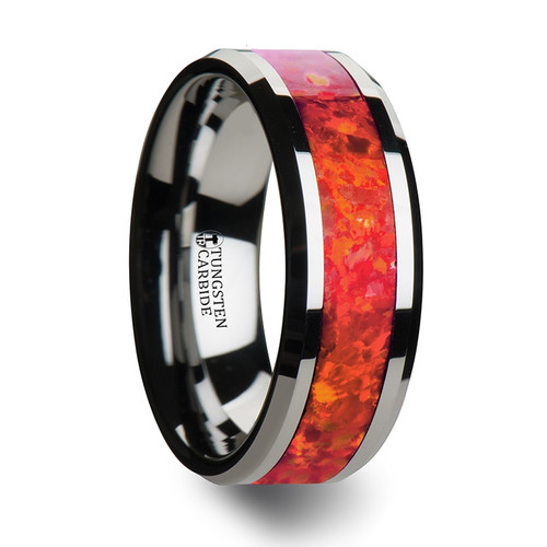 Beta Tungsten Wedding Band with Red Opal Inlay at Rotunda Jewelers