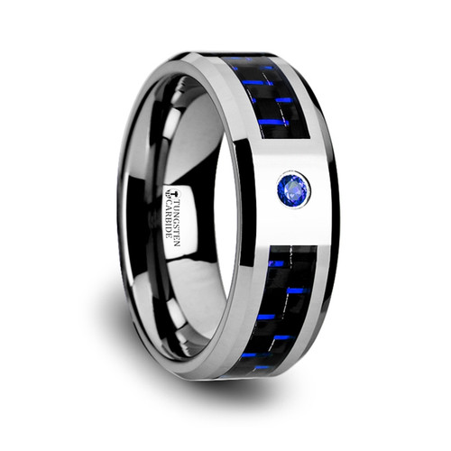 Dracontos Tungsten Carbide Band with Black & Blue Carbon Fiber and Blue Diamond at Rotunda Jewelers