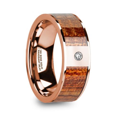 Ribwort 14k Rose Gold Men's Wedding Band with Mahogany Wood Inlay & Diamond at Rotunda Jewelers