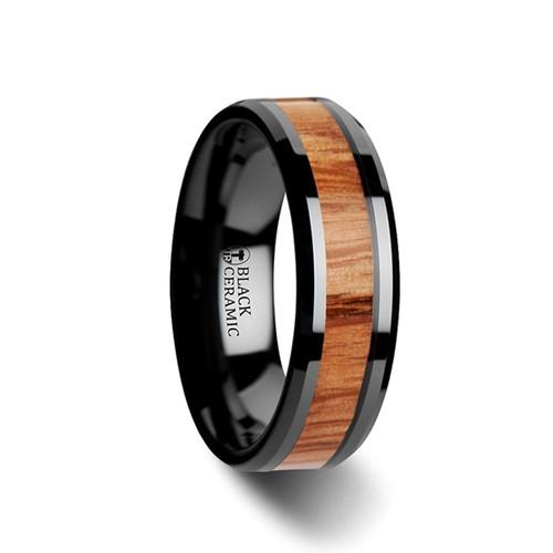 Lunaria Red Oak Wood Inlay Black Ceramic Band at Rotunda Jewelers