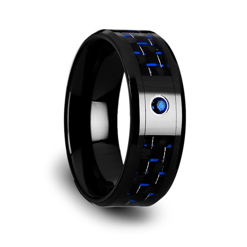 Gladiolus Black Ceramic Band with Black & Blue Carbon Fiber and Blue Sapphire at Rotunda Jewelers