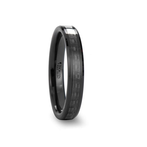 Chelidonium Black Ceramic Band with Black Carbon Fiber Inlay at Rotunda Jewelers