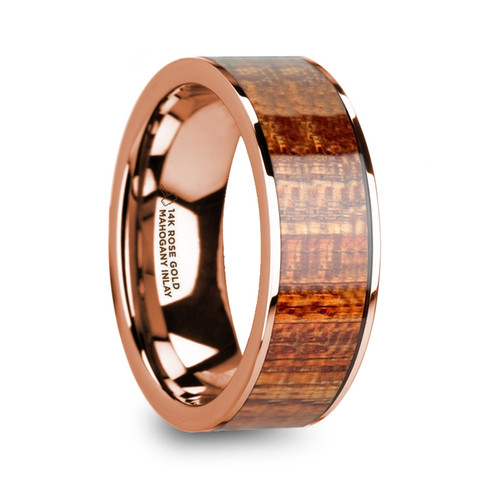 Umbrella 14k Rose Gold Men's Wedding Band with Mahogany Wood Inlay at Rotunda Jewelers