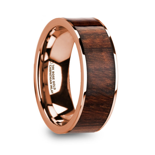Bugle Polished 14k Rose Gold Men's Wedding Band with Carpathian Wood Inlay at Rotunda Jewelers