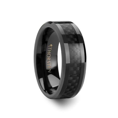 Drosera Black Ceramic Band with Black Carbon Fiber Inlay at Rotunda Jewelers