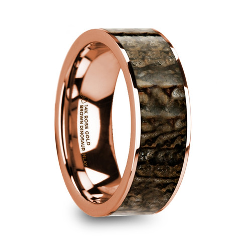 Calla 14k Rose Gold Men's Wedding Band with Genuine Brown Dinosaur Bone Inlay at Rotunda Jewelers