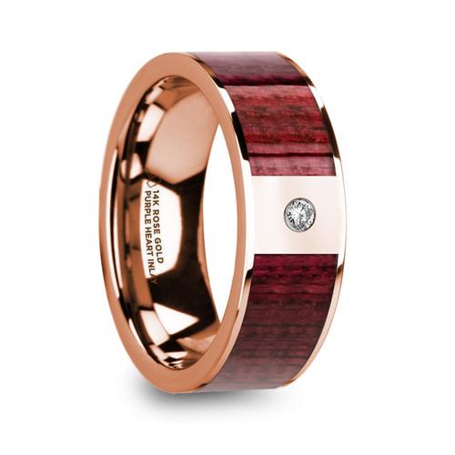 Groundberry 14k Rose Gold Men's Wedding Band with Purpleheart Wood Inlay & Diamond at Rotunda Jewelers