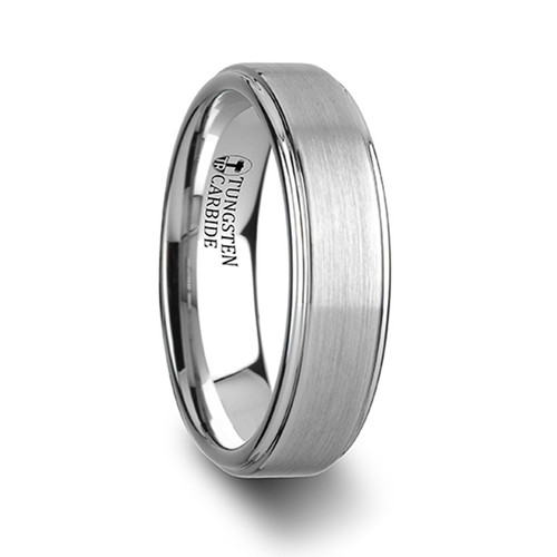 Cotoneaster White Tungsten Carbide Band with Raised Brushed Finish at Rotunda Jewelers