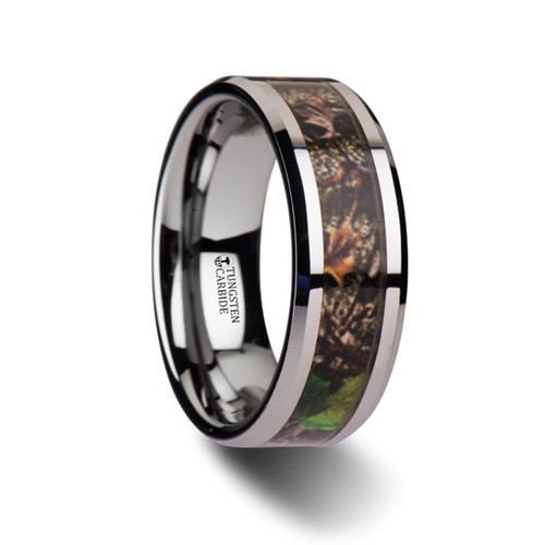 Roman Realistic Tree Camouflage Tungsten Carbide Wedding Band with Green Leaves at Rotunda Jewelers
